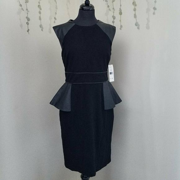 ELIZA J Faux Leather Panel Fit & Flare Dress